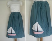 Women's Straight Skirt With Sailboat Applique/ Juniors Light Blue Denim Skirt: Gathered Waist Skirt