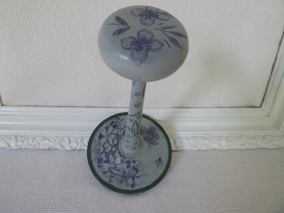 Reserved For Jennifer Vintage April Cornell Hand Painted Blue Hat Stand With Floral Motif Circa 1980's