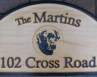 Personalized Outdoor Wood Plaque Sign Hanging W/ Family Name / Black Lab / Street Name Hand Painted
