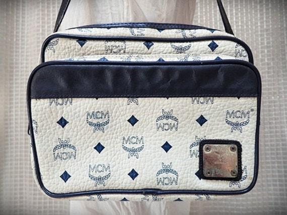 MCM handbag purse Munchen A5819 handbag Navy white designer handbag