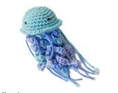 jellyfish BABY RATTLE PLUSHIE toy stuffed animal plush ocean theme turquoise blue teal purple periwinkle