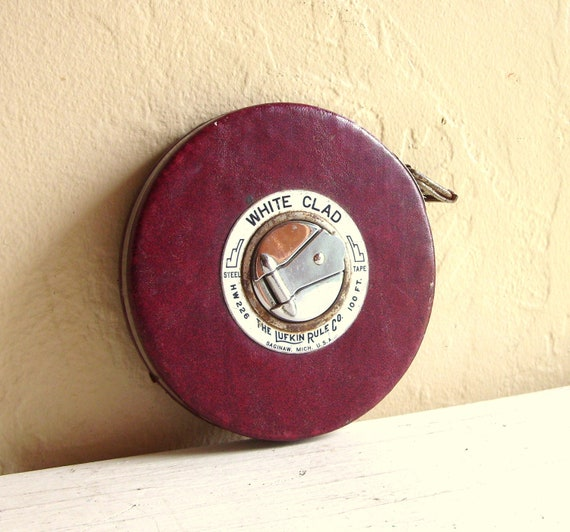 White Clad Lufkin Rule Company 100 Foot Steel Tape Measure Burgundy Lather Cover