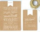 Wedding Invitation White Ribbon & Kraft Paper