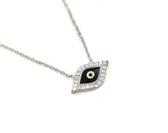 Free Domestic Shipping Sterling Silver Dark Blue Evil Eye Necklace Halo, Blue, Evil Eye, Lucky, Charm, Necklace, CZ, Protector, Modern, Gift