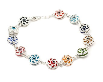 Free Domestic Shipping Sterling Silver Multicolor Candy Cane Evil Eye Bracelet