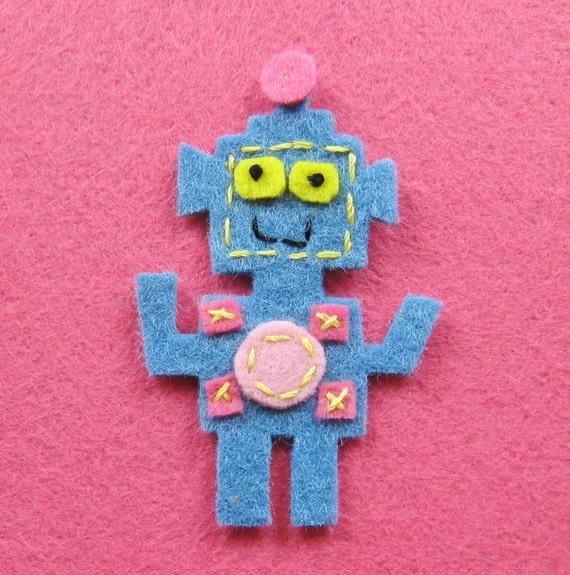 2 pcs - Handmade robot felt appliques (A167-B)