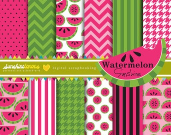 Watermelon Digital Paper Pack - Set of 12 Papers - COMMERCIAL USE Read Terms Below