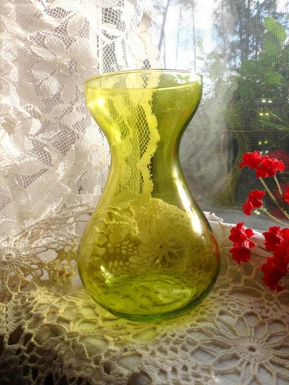Yellow Flower Bulb Forcing Vase, Bulb Rooting Vase, Rooting Vase