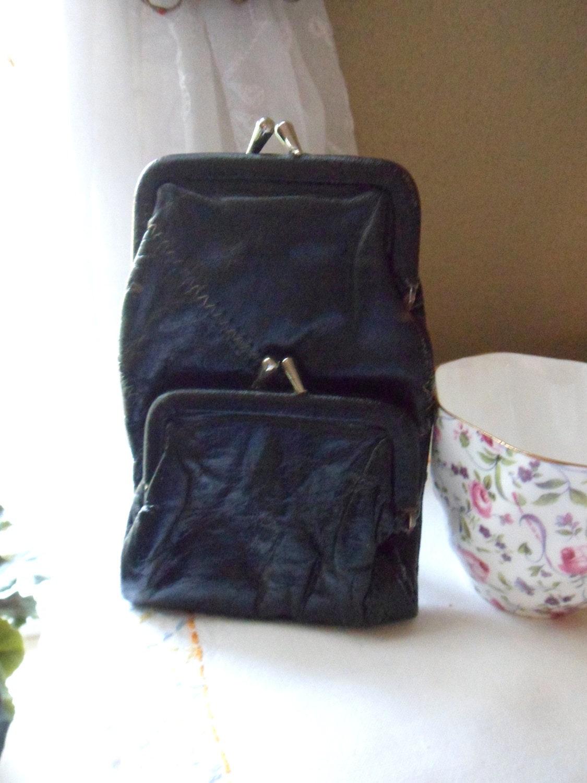 Black Leather Cigarette Case Ladies Folding Cigarette Pack