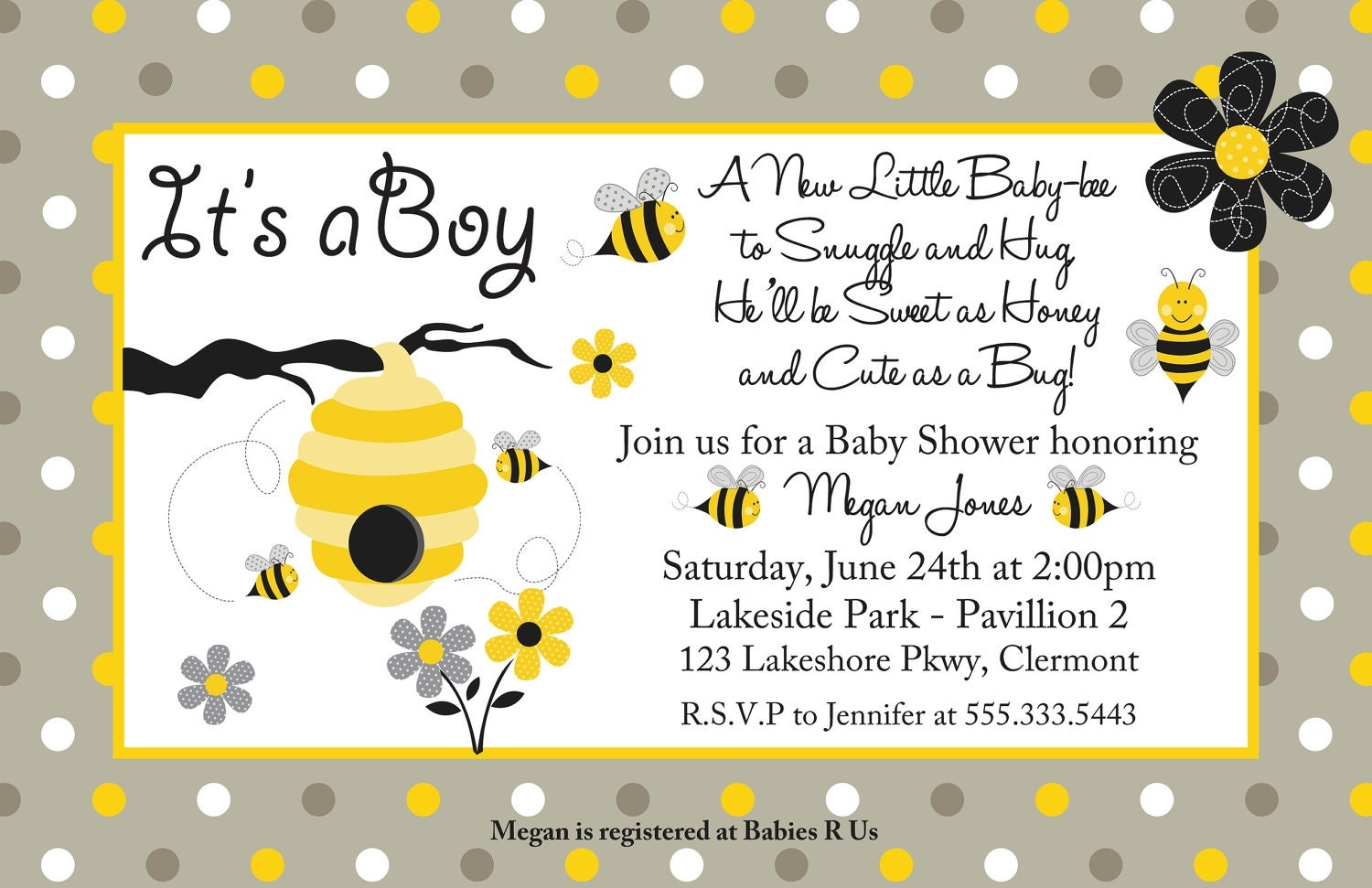 24 Printed Honey Bee Boy or Girl Baby Shower by BDesigns4You