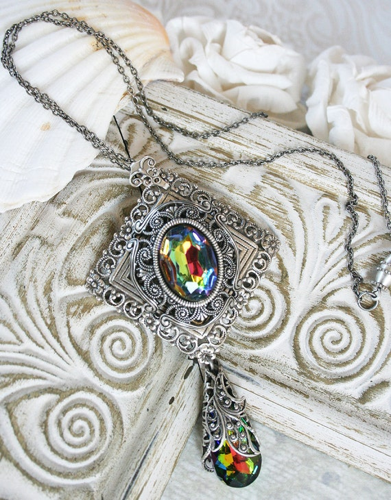 THE RAINBOW romantic vintage fantasy inspired rainbow crystal and filligree Victorian style necklace, free gift boxing