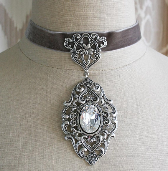 WINTER'S DAUGHTER romantic Renaissance inspired velvet choker with aged silver and Swarovski crystal