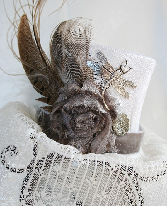 LACEY Victorian inspired mini top hat, Madhatter tea party hat, steampunk wedding hat, great vintage photo prop