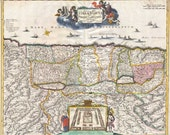 The Holy Land 1720 - Antique Map published by David Funck. Printable Map. Instant digital download.