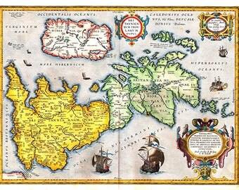 British Isles 1603. Antique Map of the British Isles by Abraham Ortelius - MAP PRINT