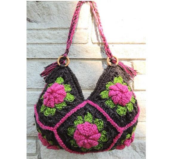 Handmade Brown Knitting Crochet Bag / Cross-Body bag