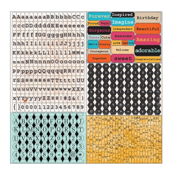 CLEARANCE - Prima - Zephyr Collection - Tiny Alphas Cardstock Stickers