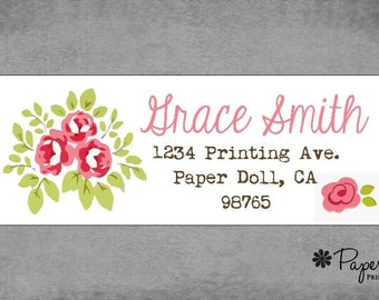 Shabby Chic Roses - Address Labels - Stickers