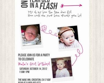 One Year in a Flash - Birthday Invitation - Boy/Girl/Twins
