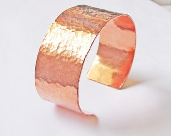 Hammered Copper Cuff Bracelet, Hand Forged Cuff, Copper Bangle, Hammered Textured One Inch Cuff, Hand Formed Bracelet
