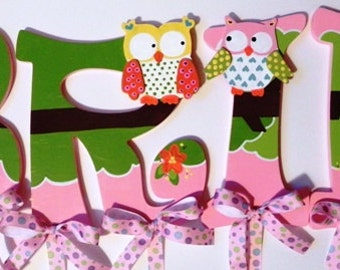 Owl Themed Set of 4 Hand Painted Wooden Letter Wall Hangings