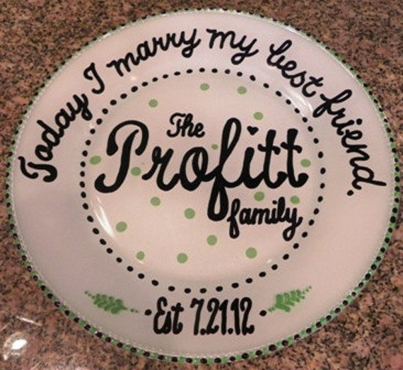 Hand Painted Wedding Plate - Made to Order