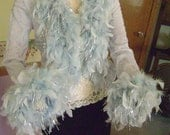 Gorgeous Georgette Sheer Light Blue Jacket with Feathers & Metallic Tinsil Price Reduced