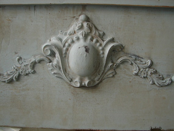 French painted,shabby old blue,Art Nouveau style pediment/ header-cartouche/cottage chic