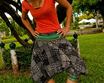 Thai Tribe pants, Cotton, Hmong Hill Tribe Style, Black&White Mixed Patterns and Green Details