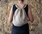 Embroidered linen drawstring backpack