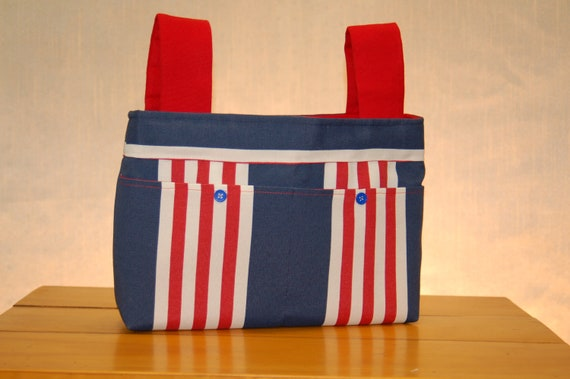Walker Bag - Patriotic Stripes with Red Lining