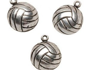 12 Volley Ball Metal Charms