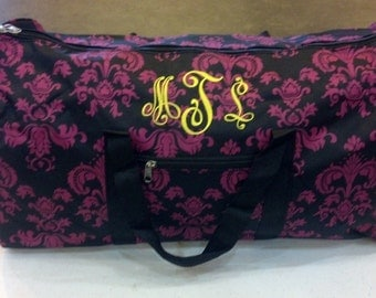 "Personalized 22"" HOT PINK w black Damask duffle bags"