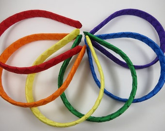 Rainbow Headband Set - Braided Ribbon Woven Headband - Red Yellow Orange Purple Blue Green - Toddler Teenager Adult Headband Gift Set