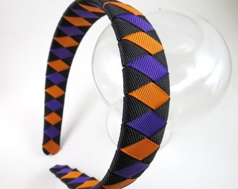 Black Orange Purple Headband - Black Headband - Purple Headband - Ribbon Woven Headband - Braided Headband - Child Teenager Adult Headband