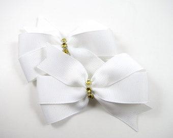 White and Gold Hair Bows - Hair Bow Set - Pigtail Hair Bows - White and Gold Hair Clips - Toddler Teenager Adult Hair Clip