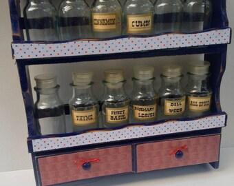 Shabby Vintage Spice Rack Apothecary Curio