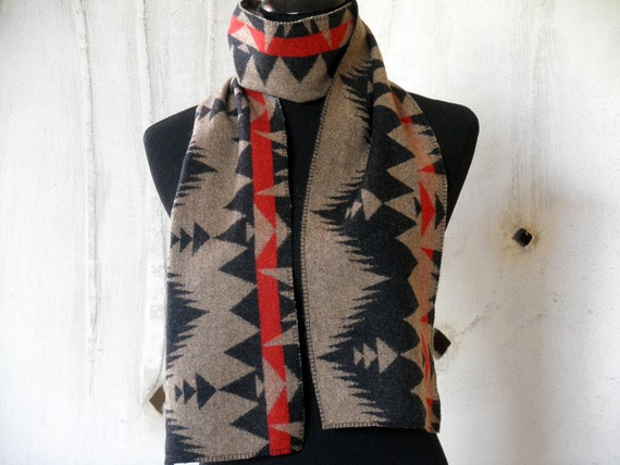 Pendleton wool  scarf, tribal inspired Navajo pattern, sophisticated colores of black, brown, red, reversible, 65 x 7 1/2