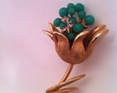 Reserved for Kenny, See CLOSEOUTSALE 50% Coupon, Jade Art Glass Brooch with White Rhinestones