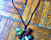 fruit leaves beaded necklace - handmade , adjustable - cotton cord , wood beads covered with glass seed beads and natural green seeds