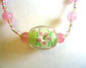 Necklace Green & Pink Floral Glass Bead and Pink Frosted Bead/ Lime Green/Pink Rocaille by JulieDeeleyJewellery on Etsy