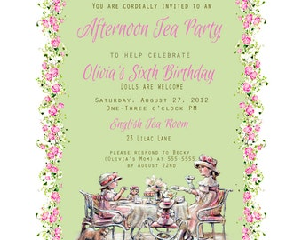 Custom  Birthday Invite and Tea Party, teatime Invitations-  customize Printable, Laurie Shanholtzer