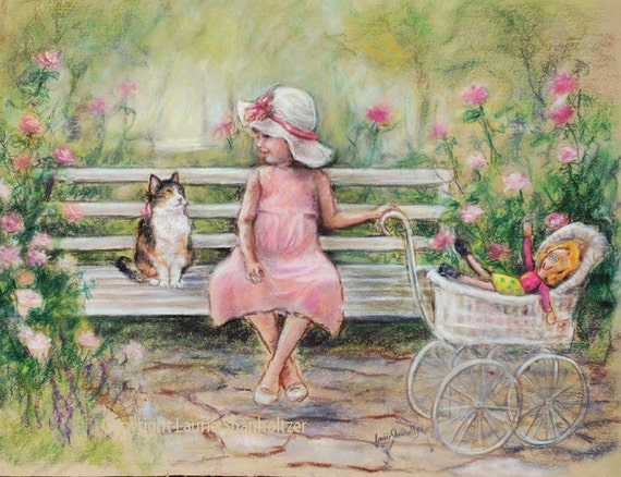 "Cat art girl original painting pastel pink green kitten Art ""Chatting With My Friend""  by Laurie Shanholtzer 19x24"