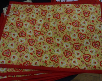 Sunny Red & Yellow Heart Placemats