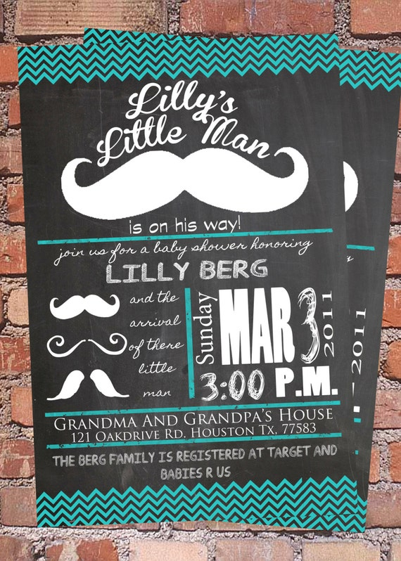 blue little man baby shower invitation by glitterboxcreation