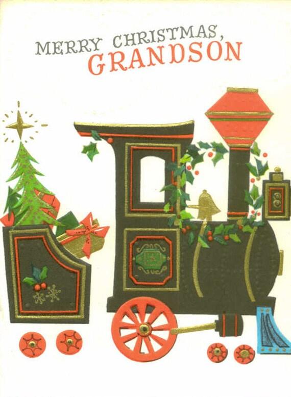 Hallmark Christmas Card, Vintage Unused, Grandson, Train