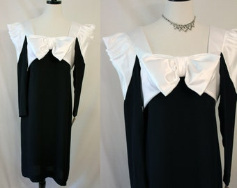 Vintage Morton Myles Futuristic Dress Black White Large Satin Bow 80's
