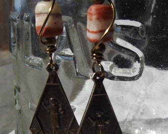 Child Jesus Earrings with Guardian Angel Wire Wrapped.
