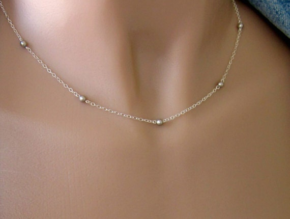 Contemporary Platinum Pearl Necklace in Sterling Silver - Tiny - Dainty - Perfect