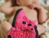 Baby Boots Crochet Hot Pink